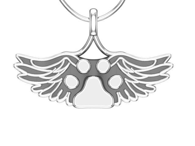 PAW007 Solid Silver Paw With WIngs Designer Necklace