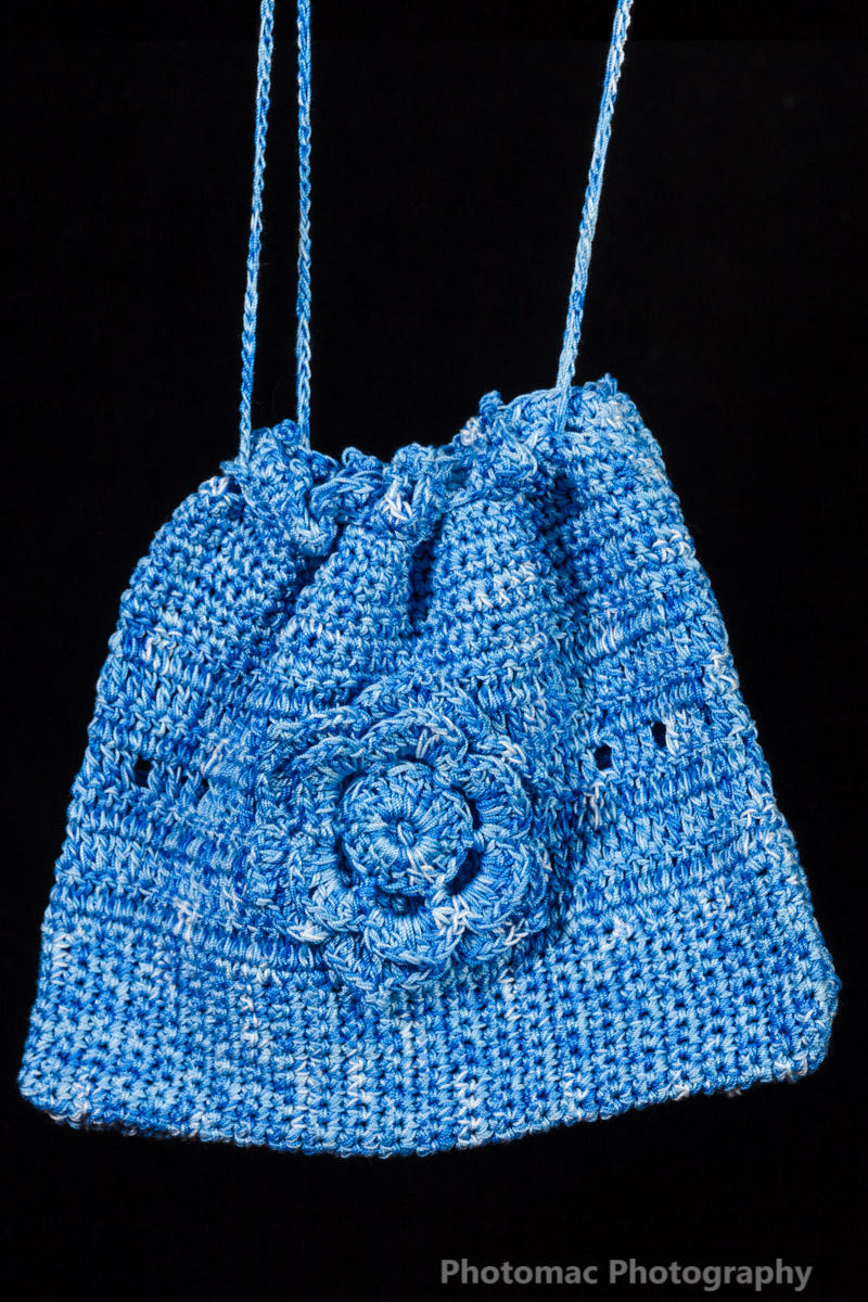 Verigated blue flower bag