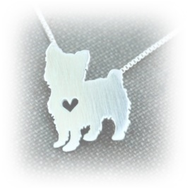 YOR004 YORKSHIRE PUPPY HEART 2 Silver