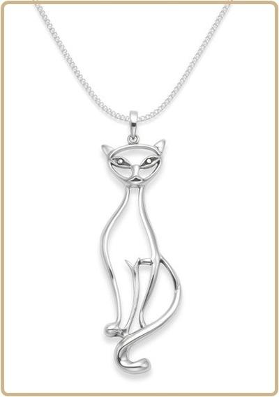 CAT 013 Cat Diva Outline Silver