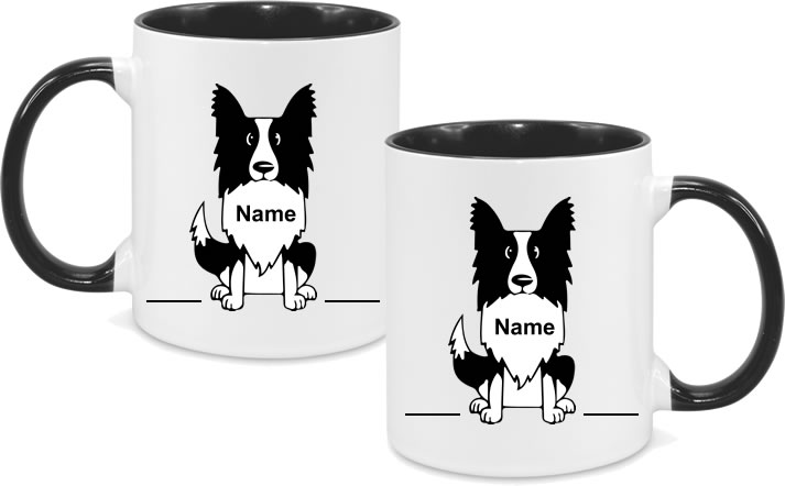 Border Collie Full Body with name in chest both sides