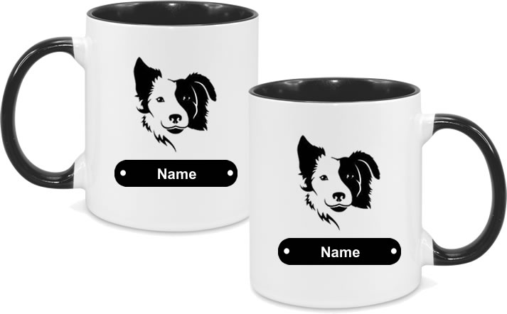 Border Collie Design with name both sides