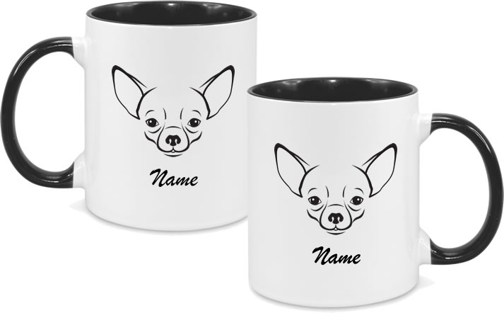 Chihuaua Black and white with cursive name both sides