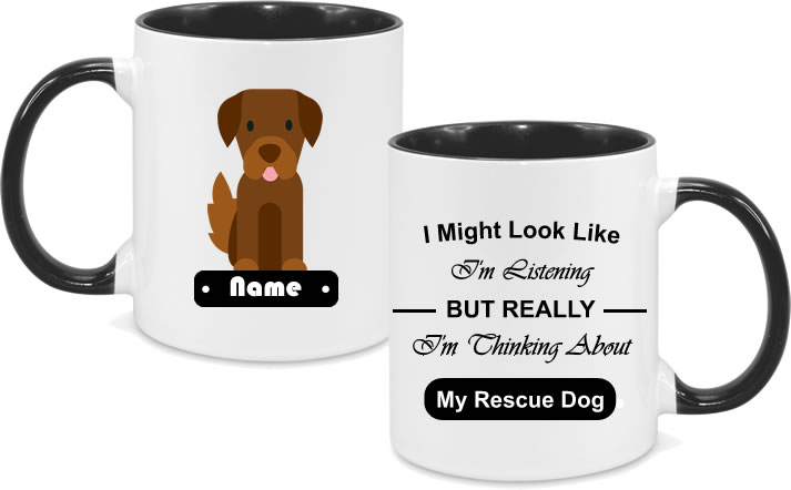 Rescue Dog Brown Dog Full Body with text