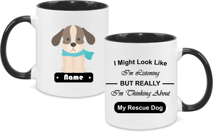 Rescue Dog Beige Dog Full Body with text
