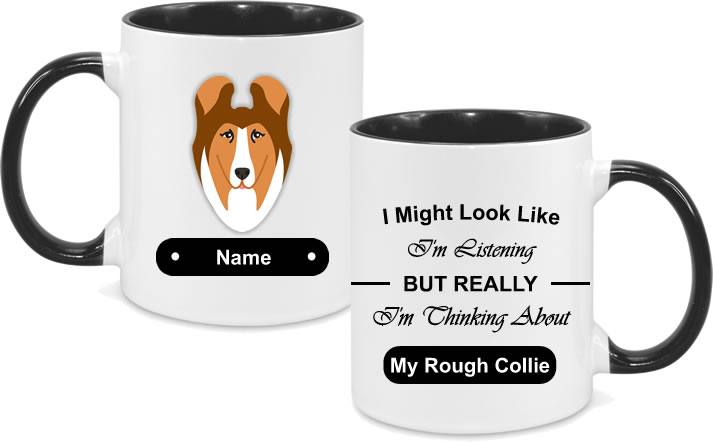 Rough Collie Face with text