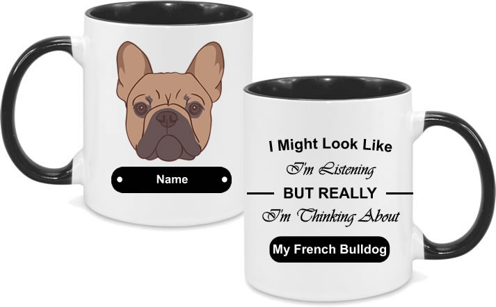 French Bulldog Brown Face drawn with text