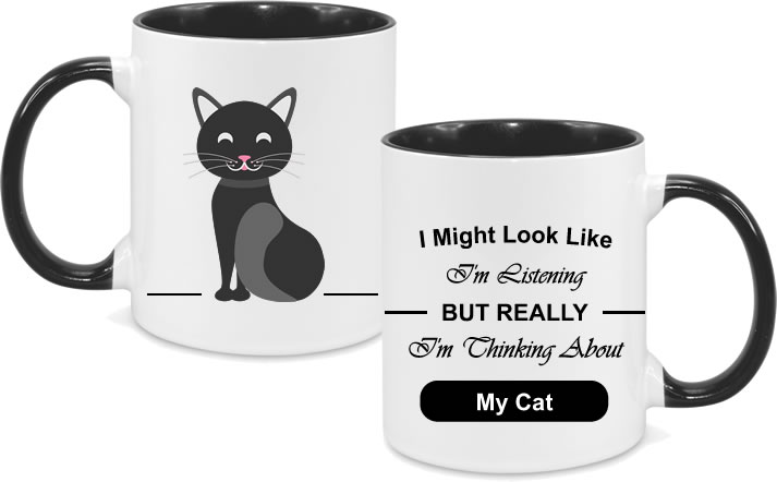 Cat Black Full Body with text