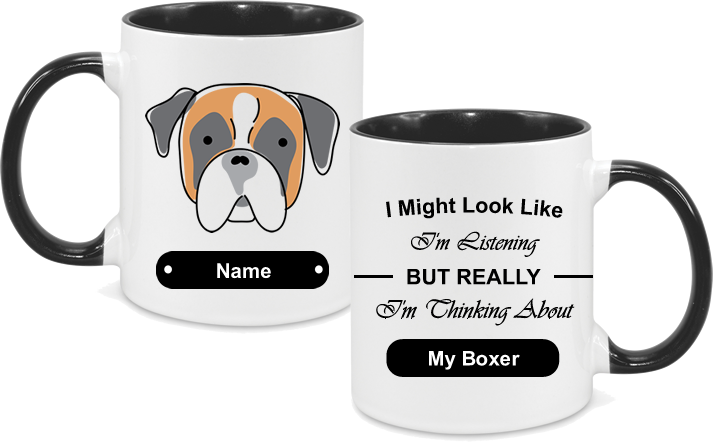Boxer Face Drawn with text