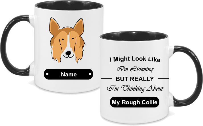Rough Collie Face Drawn with text