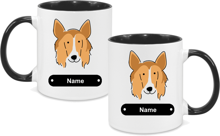 Rough Collie Face Drawn both sides