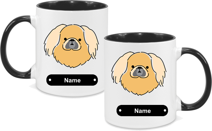 Pekingese face drawn both sides