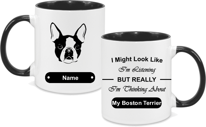 Boston Terrier Face with text