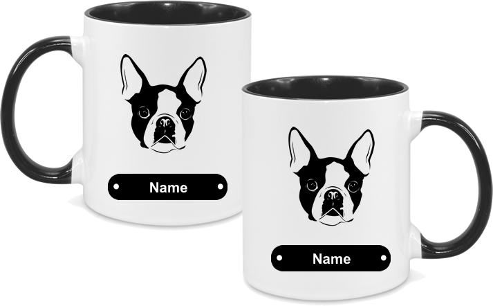 Boston Terrier Face both sides
