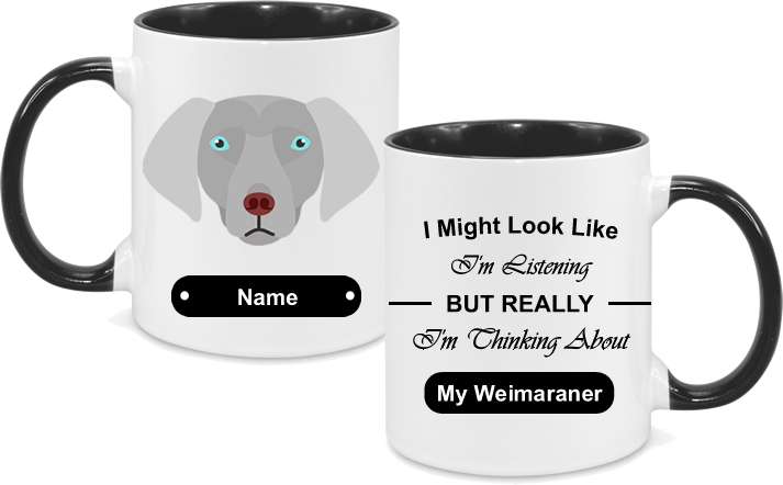 Weimaraner Face blue eyed with text