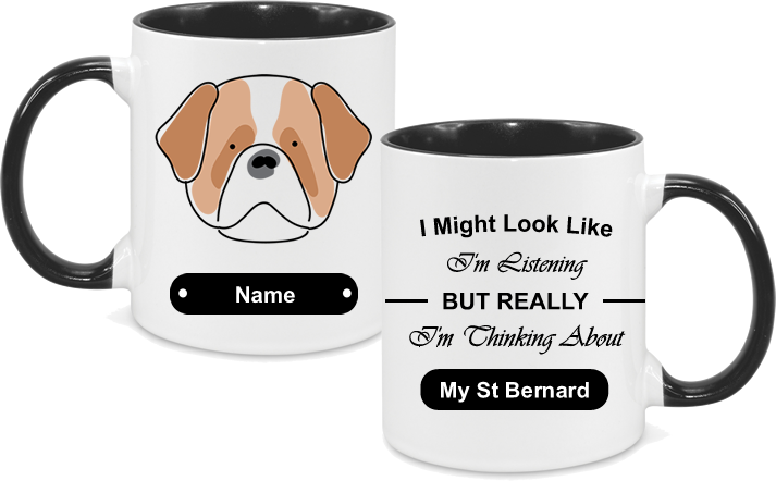 St Bernard Face Drawn with text