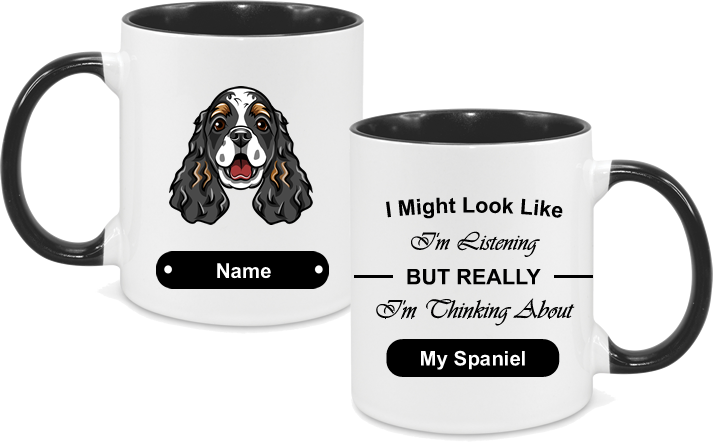 Spaniel Face Black with text