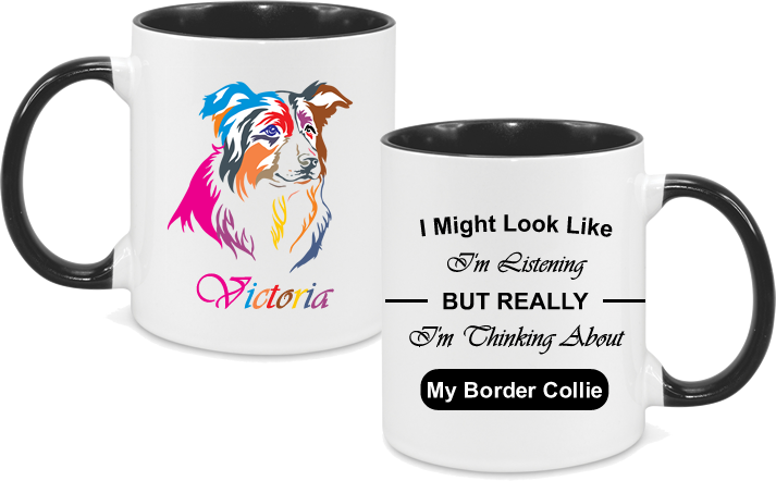 Border Collie Colourful with text