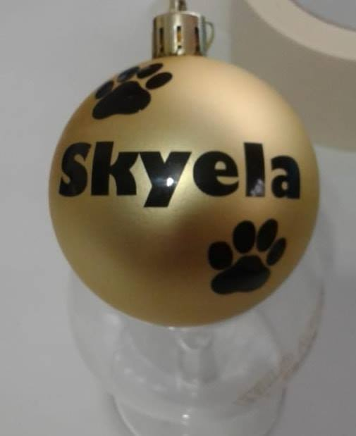 Personalised Bauble Paws (Gill Font)