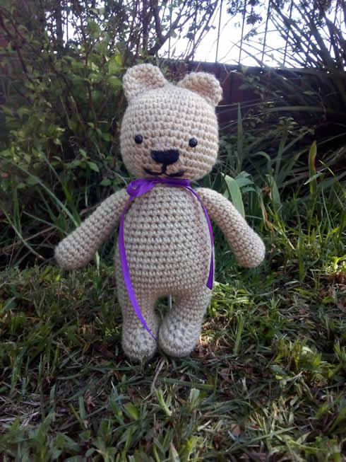 Bear with purple bow