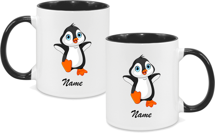Penguin both sides with name in black text