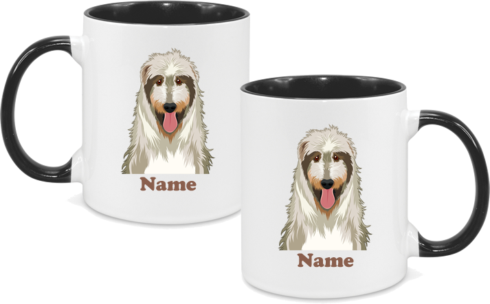 Irish Wolfhound both sides with name in black text