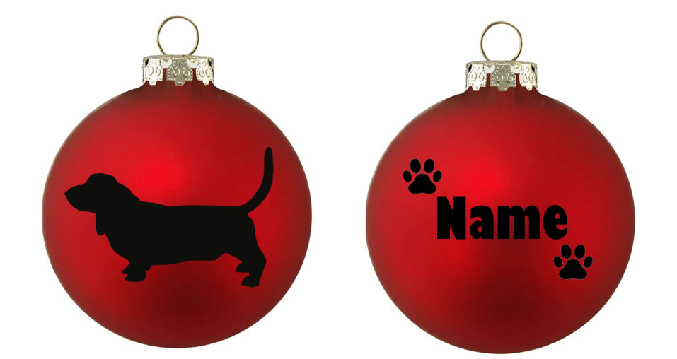 Personalised Basset Hound Bauble