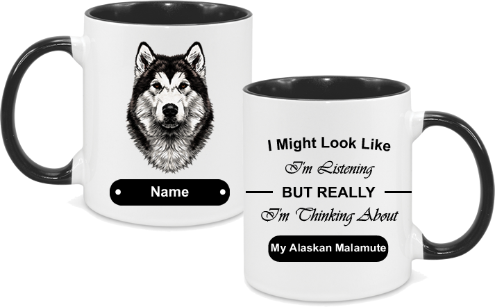 Alaskan Malamute Face with text